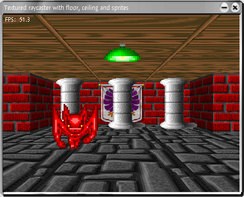 Raycasting with textured walls, with rendering of textured floor, ceiling and sprites